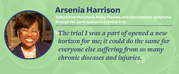 Arsenia Harrison, clinical trial participant for peripheral artery disease