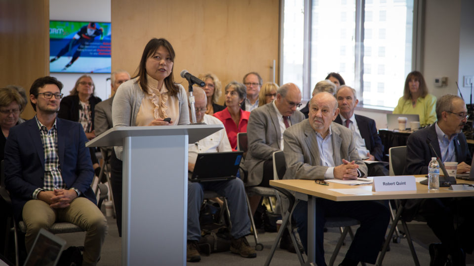 Dr. Maria Millan, President and CEO of CIRM, at the CIRM September 2017 Board meeting. (Todd Dubnicoff, CIRM)